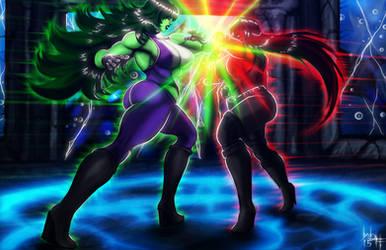 She-Hulk vs She-Rulk by SirWolfgang