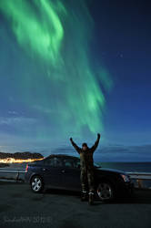 Me, My Car, The Northern Lights ! by SindreAHN