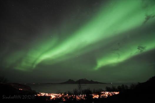 Northern Lights above Lopsmarka and Landegode