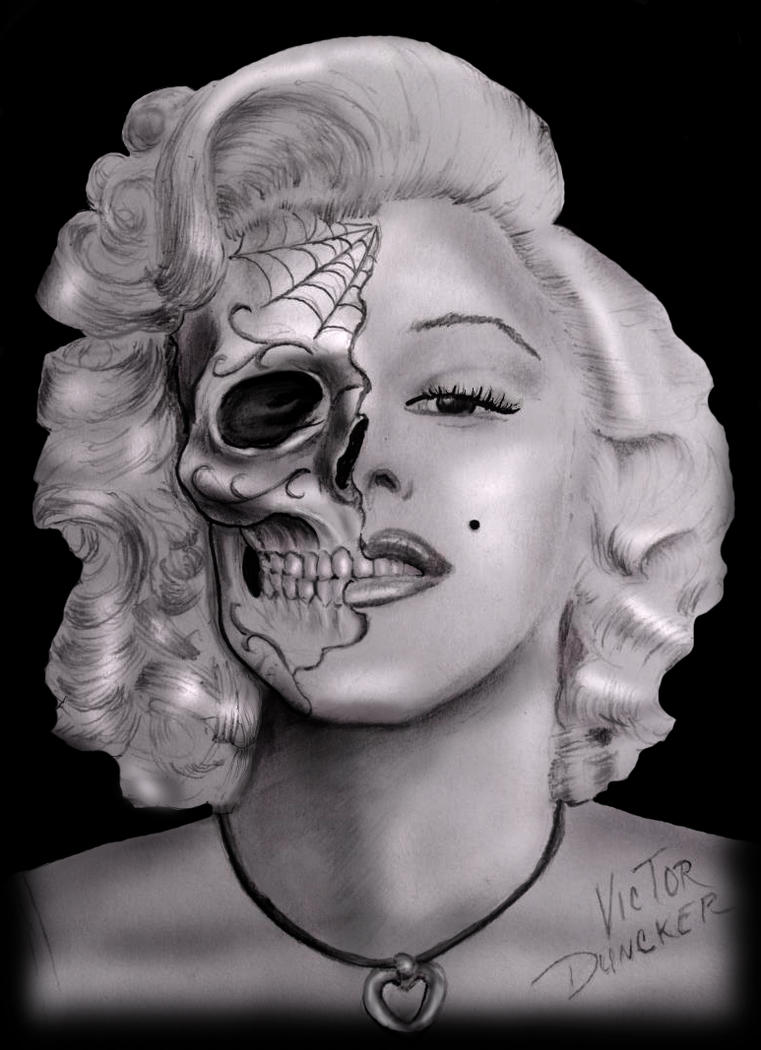 Marilyn monroe sugar skull by xarcwelderx on deviantart for Marilyn monroe skull tattoos