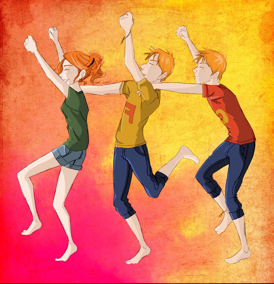 """""""He got off, he got off!"""" Ginny, Fred, George Weasley - The weasleys by SivJE on deviantART"""
