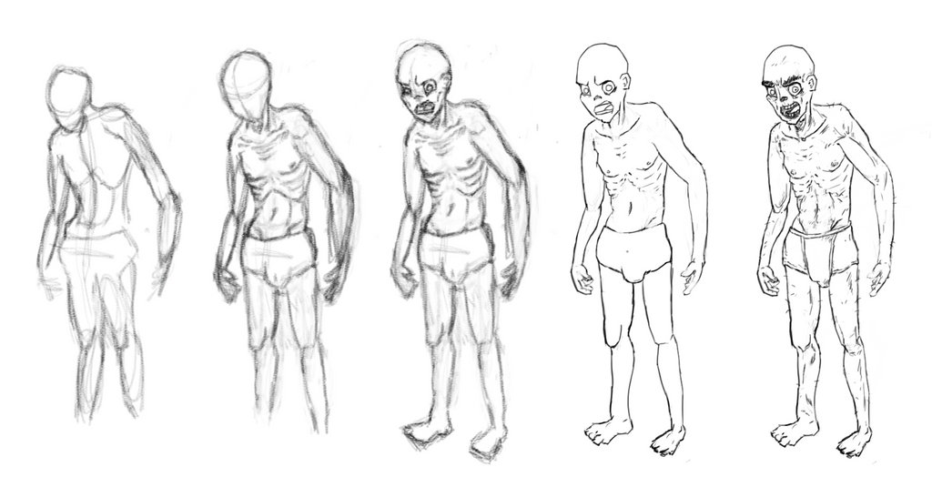 How To - Zombie Sketch Itterations by olivebates