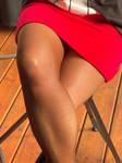 Wife's Red Skirt Tan Pantyhose Legs4
