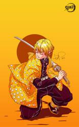 Agatsuma Zenitsu (Kimetsu no Yaiba manga) by DanielValerian