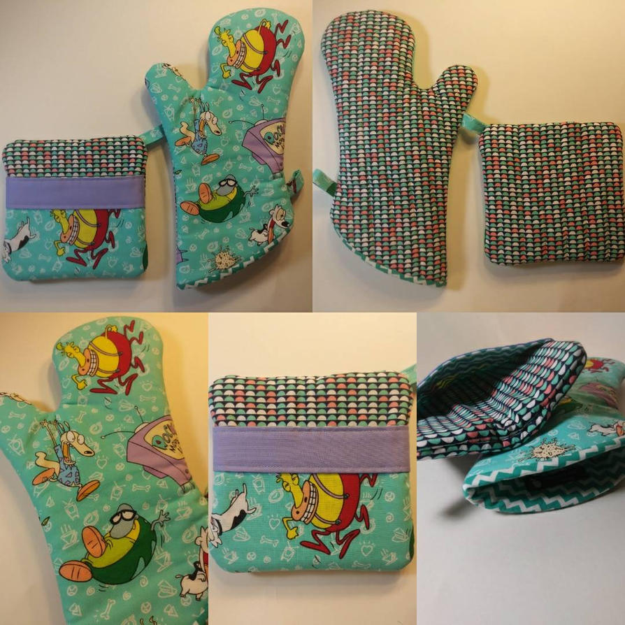 Rocko's Modern Life Oven Mitt and Hot Pad Set by MechanicalApple
