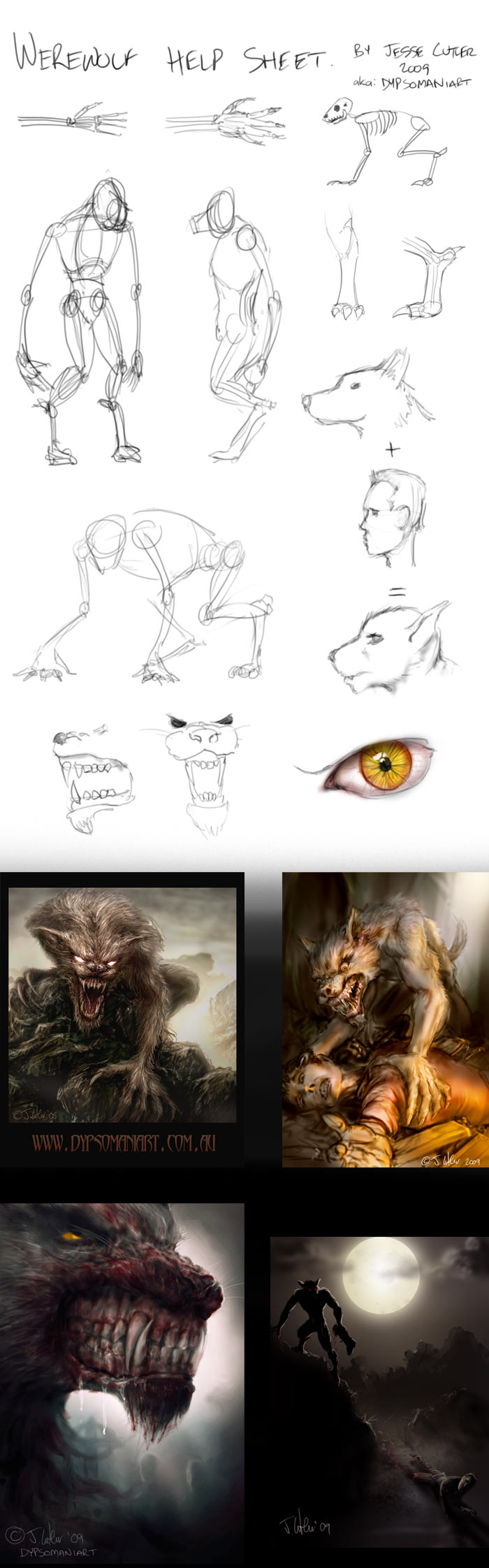 werewolf help sheet by dypsomaniart