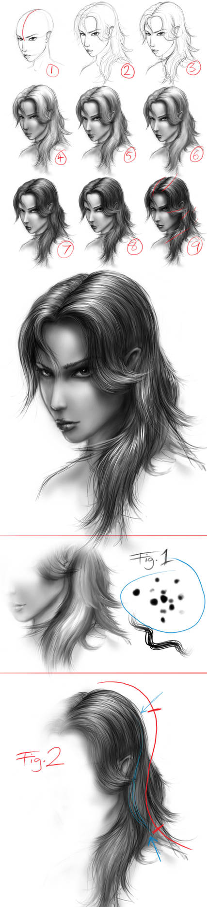 hair full tutorial by dypsomaniart