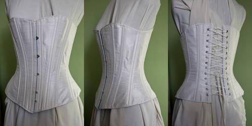1880's white silk corset