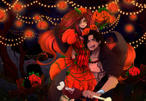 Ace and Hatomi.Happy Halloween. by Portgas-D-Hato