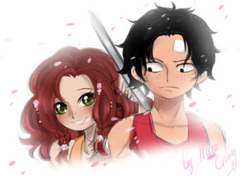 Ace and Hatomi.Children. by Portgas-D-Hato