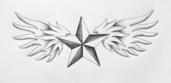 Laurens Tattoo - Winged Star by surf-4-life