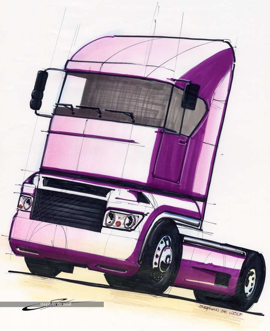Big purple truck by w0lfb0i