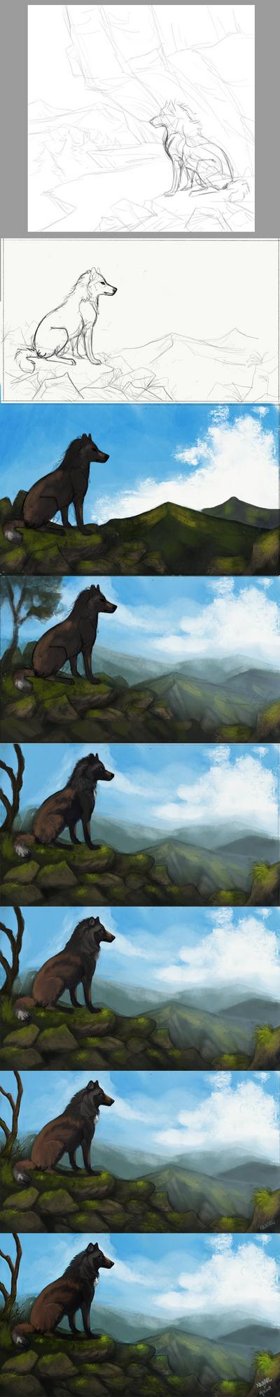 Cliffside Collab Progress by Nanarc