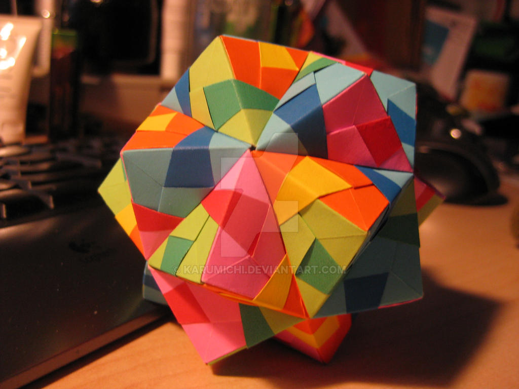paper icosahedron kusudama by karumichi on deviantart
