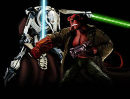 General Grievous VS Hellboy by johnnyBgood007