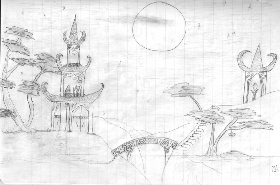 Simple Fantasy Drawing Fantasy Landscape Drawing by Firole