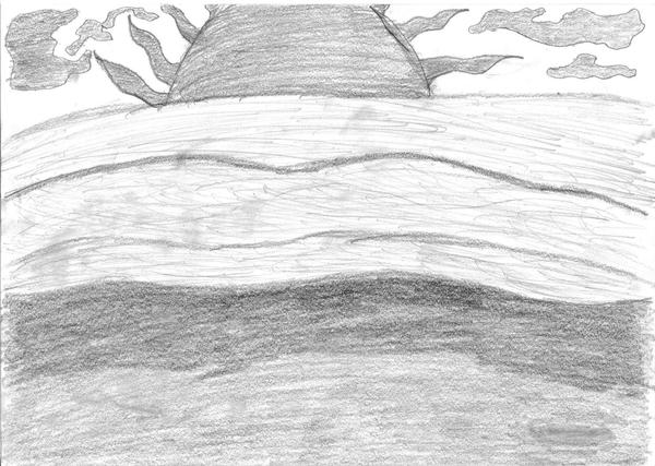 Beach Sunset Pencil Drawing