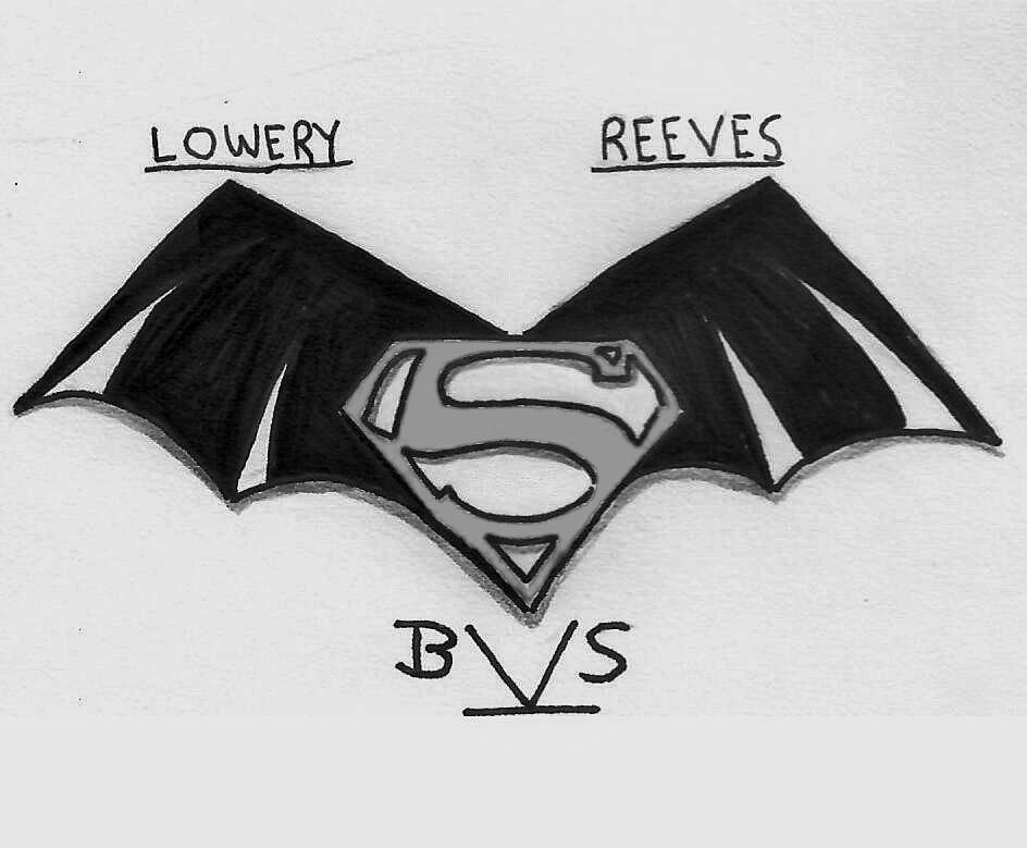 Classic take on Batman v Superman logo bw by ElvisPresleyFan3577