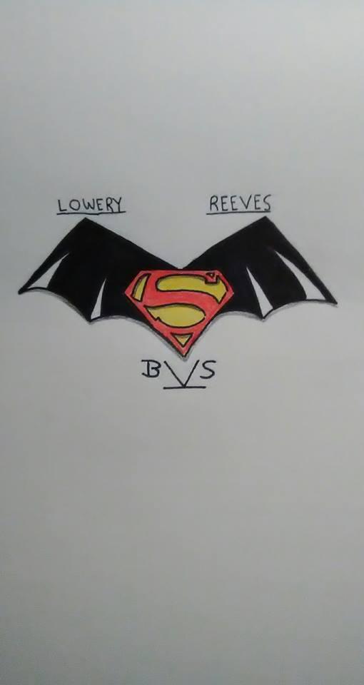 Classic take on Batman v Superman logo colored by ElvisPresleyFan3577