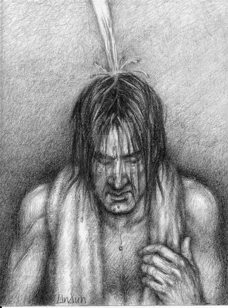 Washing his hair by sketchport