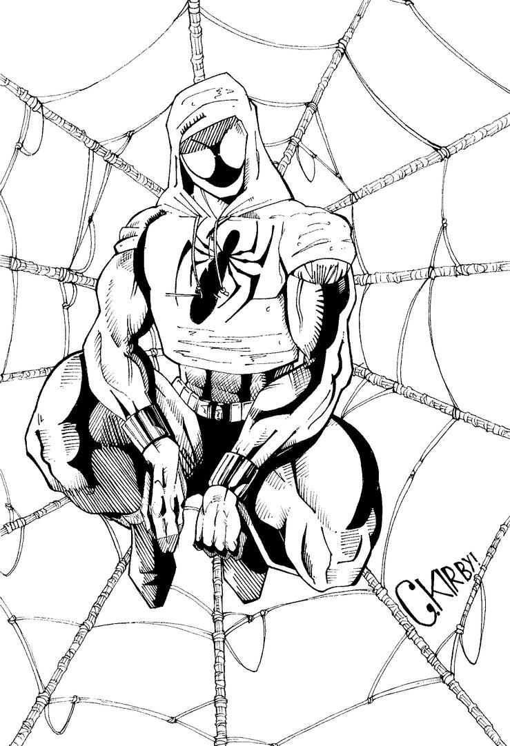 Line Art Marvel : Scarlet spider inks marvel comics c kirby by