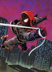 Spider-Man in his into the Spider-verse costume