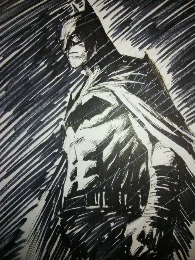 Batman in the rain by LandonFranklin