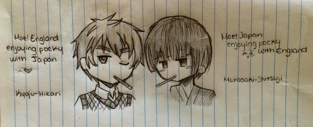 Moe! Japan and Moe! England enjoying pocky~ by Murasaki-Shitsuji