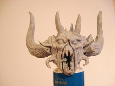 Demon blue tac sculpure by steveyoungsculptor