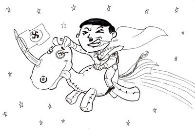 Hitler riding through the galaxy by steveyoungsculptor