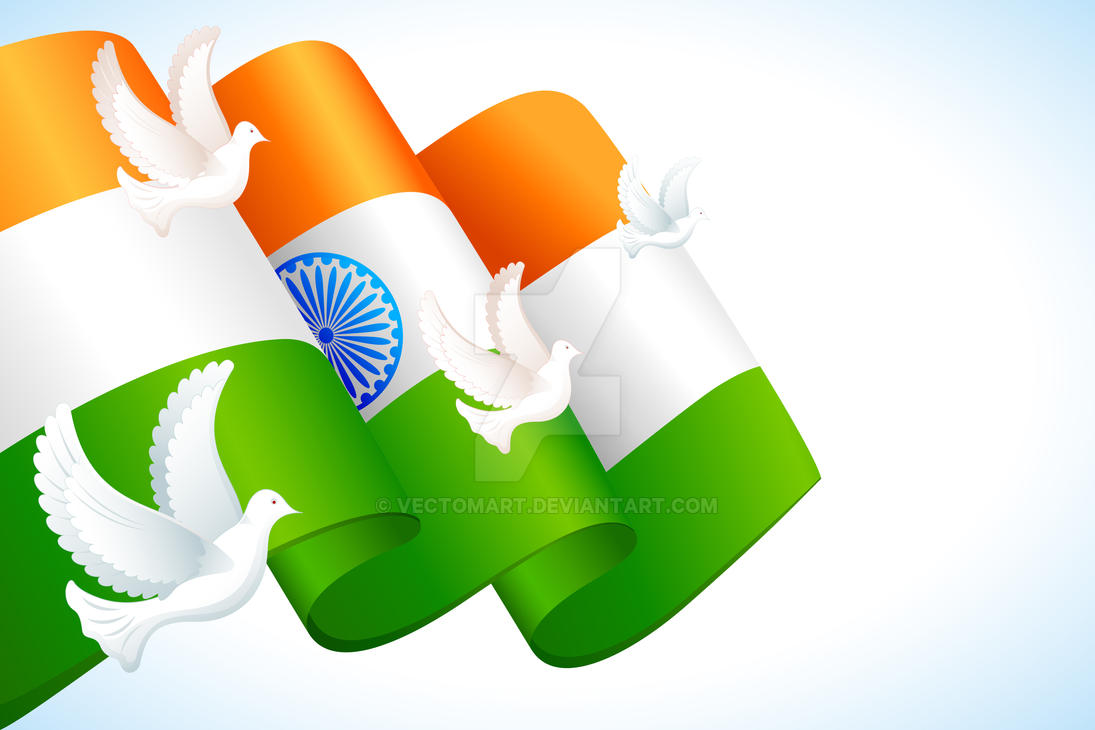Dove Flying On Indian Flag By Vectomart