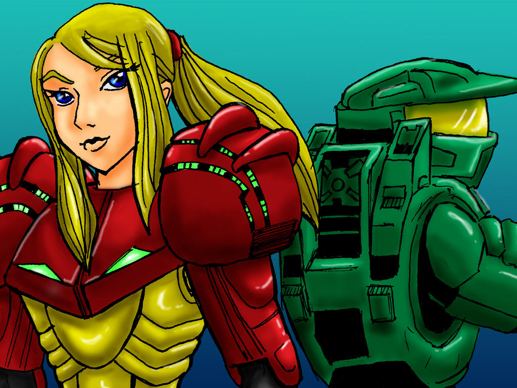 Samus and Chief Wallpaper by RabidElf