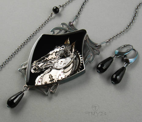 MECHANICAL HORSE. Steampunk necklace.