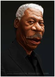 Morgan Freeman-caricature by Zazukudap