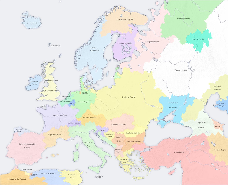 Map of europe 1890 acw by djinn327 on deviantart
