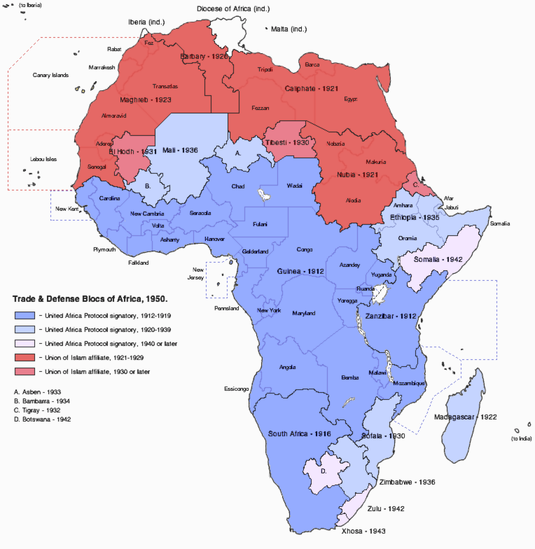 1950 Africa Map Trade and Defense Blocs of Africa, 1950 [ACW] by djinn327 on