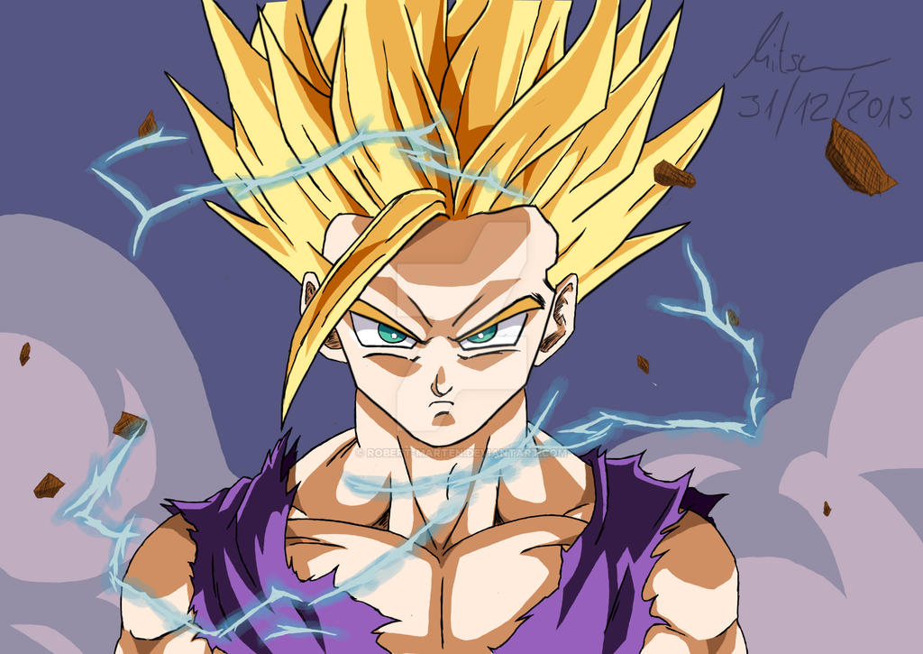 Teen gohan ssj 2 digital art by robert marten on - Teen gohan wallpaper ...