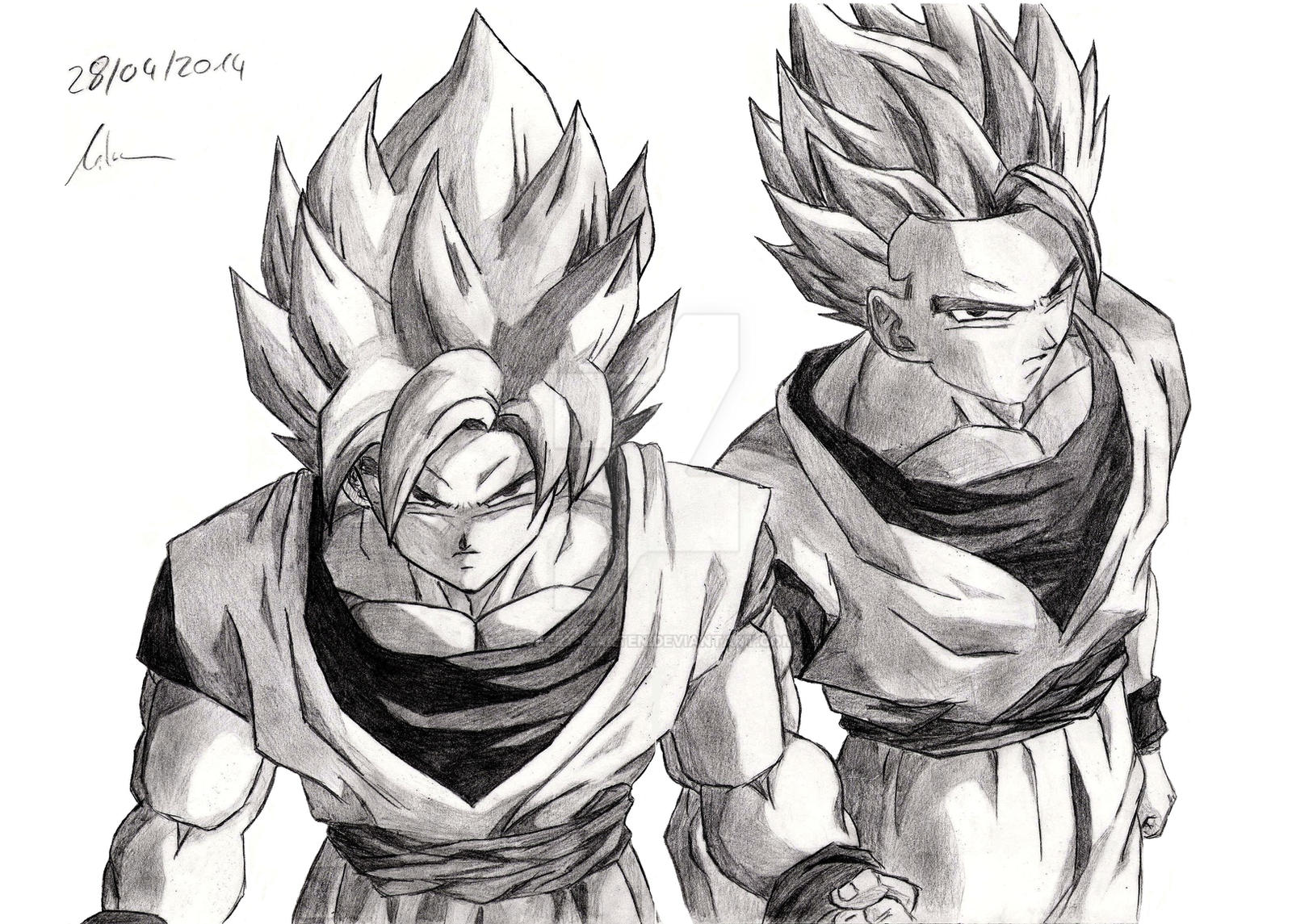 Goku and Gohan ( Dragonball ) by Robert-Marten