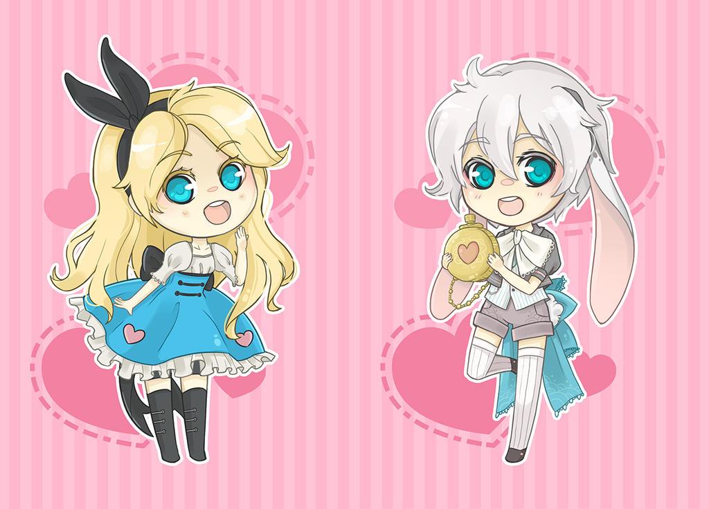 Alice in Wonderland Chibi set part 1 by Alathriel