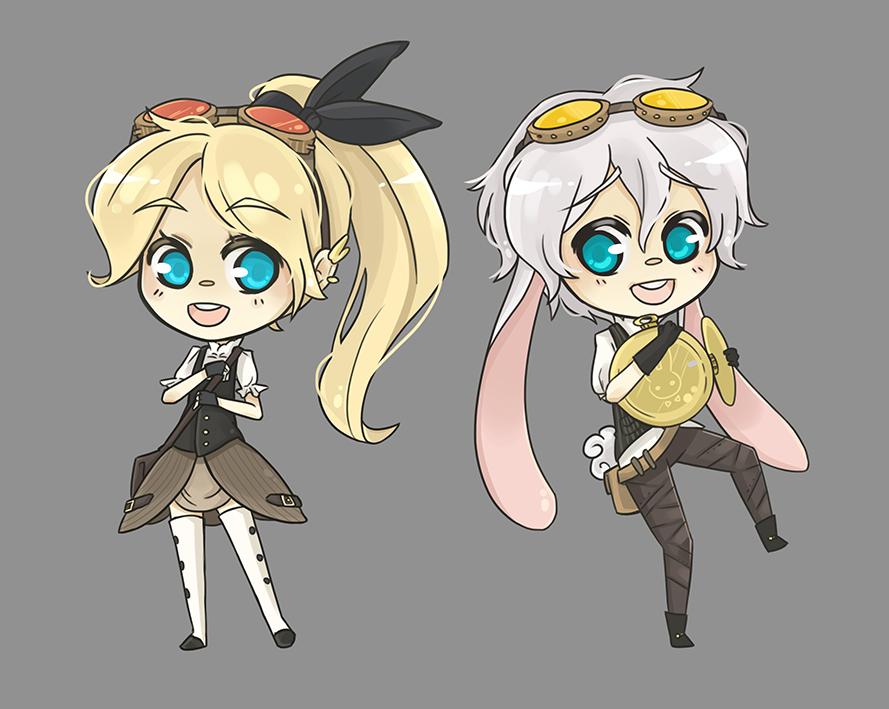 Alice and White Rabbit steampunk version by Alathriel