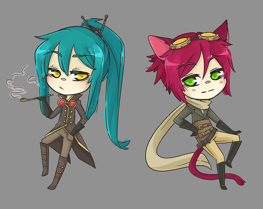 Caterpillar and Cheshire Cat steampunk version by Alathriel