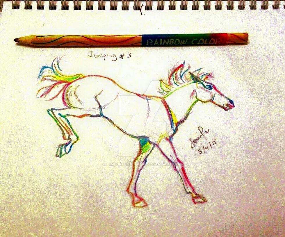 Horse Jumping, rainbow by limegreenguitar