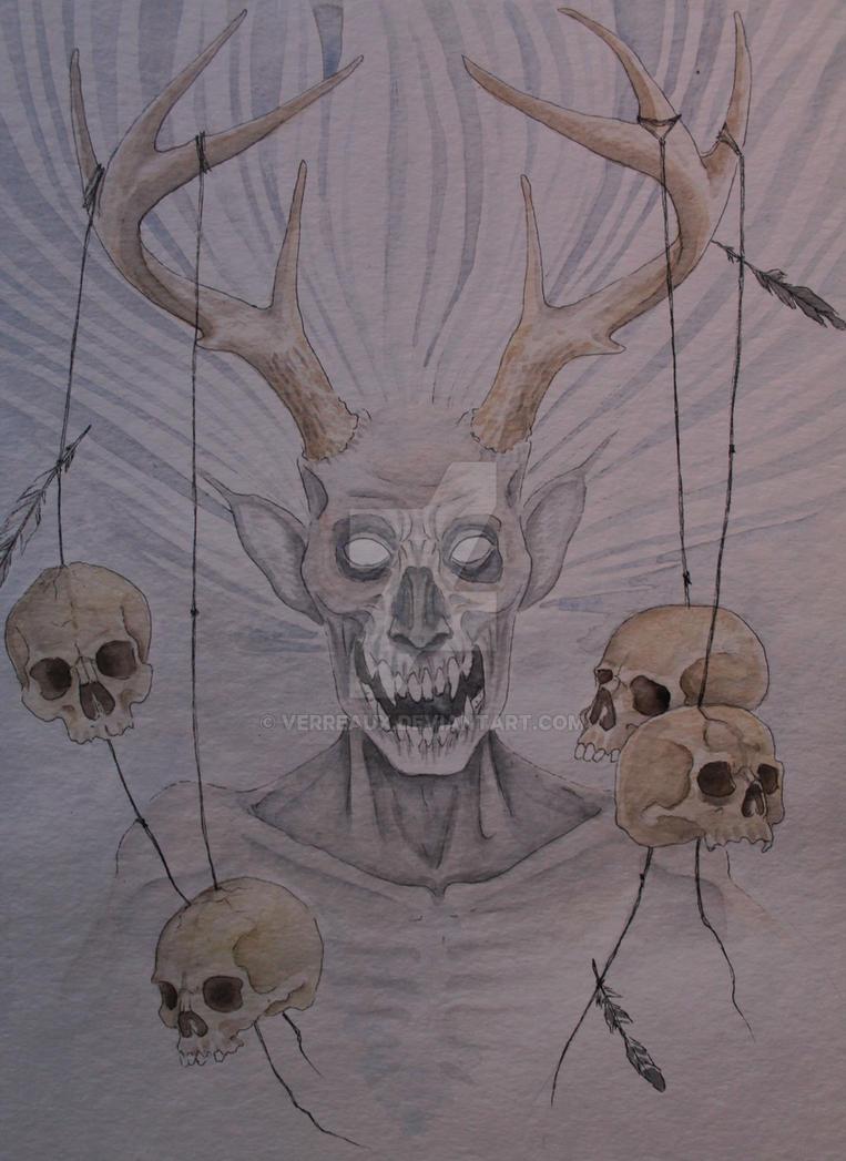 Wendigo watercolor by verreaux