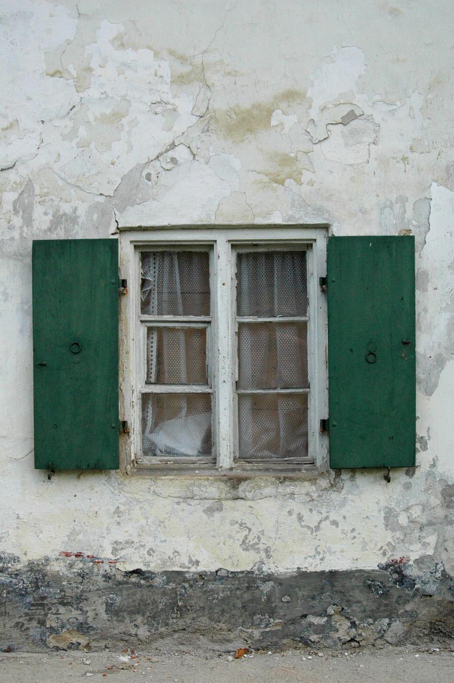 old window green shutters by BlokkStox