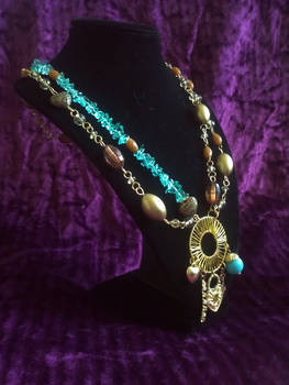Teal Brown and Gold Asymmetric Necklace