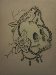 Skull, Beads and Bird