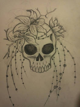 Skull, beads and Lilies