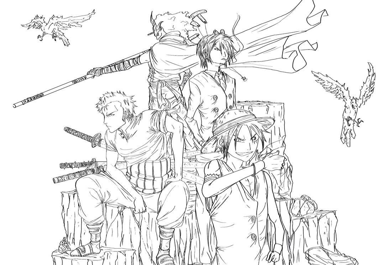 Luffy zoro sanji usopp by jey09 on deviantart - Zoro one piece dessin ...