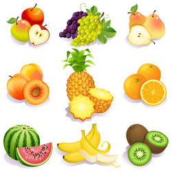 Free Fresh fruits vector icons