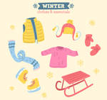 6 Colorful Winter Clothes And Essentials Vector